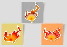 Set of paper banners with flames icons for webdesign and infographic. Yellow, orange and gray paper notepads with red and orange fire Royalty Free Stock Photography