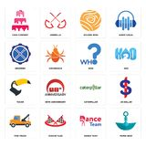 Set of paper boat, dance team, tow truck, caterpillar, tucan, who, drummer, golden rose, cake company icons. Set Of 16 simple  icons such as paper boat, dance Royalty Free Stock Photography