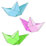 Set paper boats on white background. Art Royalty Free Stock Photos