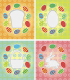 Set of paper card with Easter eggs, bunny, cake Royalty Free Stock Images