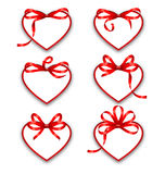 Set Paper Cards in Form Hearts with Red Bows for Happy Valentines Day vector illustration