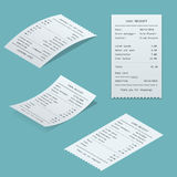 Set Paper check. And financial check isolated. Sales printed receipt, shopping paper bill atm vector mock up. Bill atm template. Vector illustration Stock Photos