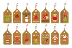 Set of paper christmas labels with flat style holydays elements Royalty Free Stock Image