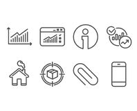 Paper clip, Parcel tracking and Statistics icons. Graph, Web traffic and Smartphone signs. Set of Paper clip, Parcel tracking and Statistics icons. Graph, Web stock illustration