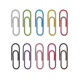Set of paper clips illustration. Multicolor paper clips Royalty Free Stock Photos