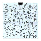 Set of paper clips of various shapes Royalty Free Stock Photos