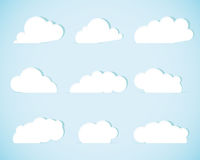 Set of paper clouds Royalty Free Stock Image