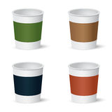 Set of paper coffee cups Royalty Free Stock Images
