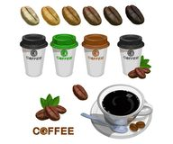 Set of paper Coffee Cups. Green Coffee. Cup of coffee. royalty free illustration