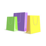 Set of paper, colored shopping bags, resizable vector illustration. Royalty Free Stock Photo
