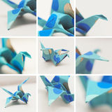Set of paper crane. Collage of nine photos with close up parts of origami crane,selective focus Royalty Free Stock Photo