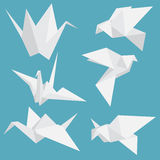 Set of paper cranes origami birds isolated. Vector illustration. Royalty Free Stock Photography