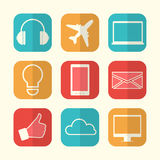 Set of paper creative icons. Royalty Free Stock Photos