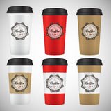 Set of paper cups  on a white background. Vector illustration Royalty Free Stock Photos