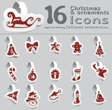 Set of paper cut and hang Christmas ornaments ic Royalty Free Stock Image