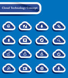 Set of paper cut technology of cloud computing ico Stock Photography