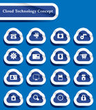 Set of paper cut technology of cloud computing ico Stock Photos