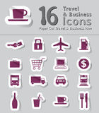 Set of paper cut travel and business icon Stock Photography