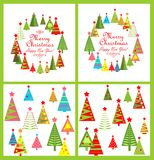 Set of paper design for winter holidays with colorful firs Stock Photography