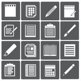 Set of paper documents and pencils icons Royalty Free Stock Images