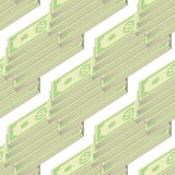Set of Paper Dollars Seamless Pattern Stock Images