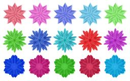 Set of paper flowers. Set of colorful paper flowers with shadows, isolated on white background royalty free illustration