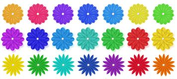 Set of paper flowers. Set of colorful paper flowers with shadows, isolated on white background Stock Photos