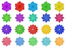 Set of paper flowers. Set of colorful paper flowers with shadows, isolated on white background Stock Image