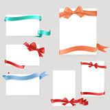 Set of paper form with satin ribbons and bows Stock Photography