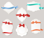 Set of paper form with satin ribbons and bows Stock Photo