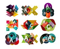 Set of paper geometric option banners, infographic templates. Vector colorful abstract backgrounds or icons Stock Photography