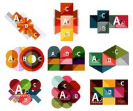 Set of paper geometric option banners, infographic templates. Vector colorful abstract backgrounds or icons Stock Photo