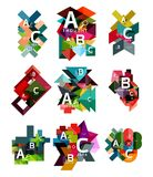 Set of paper geometric option banners, infographic templates. Vector colorful abstract backgrounds or icons Stock Images