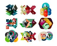 Set of paper geometric option banners, infographic templates. Vector colorful abstract backgrounds or icons Royalty Free Stock Image