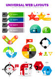 Set of paper graphics - infographic or web box. Es. Geometrical design template elements with text Royalty Free Stock Image