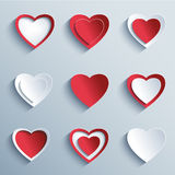 Set of paper hearts, design elements for Valentines day Royalty Free Stock Image