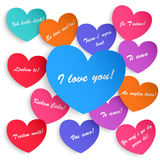 Set of paper hearts with the inscription I love you Stock Image