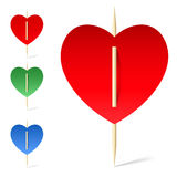Set of paper hearts on toothpicks Royalty Free Stock Images