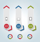 Set paper labels with gadgets infographic icons Stock Photos