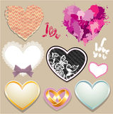 Set of paper, lace, metall hearts. Royalty Free Stock Images