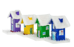 The set of paper multi-colored Christmas houses Stock Image