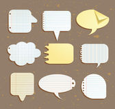 Set of paper notes speech bubbles. Vector illustration. Royalty Free Stock Image