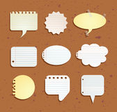 Set of paper notes speech bubbles. Vector illustration Royalty Free Stock Image