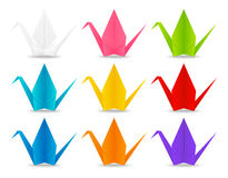 Set of paper origami cranes Stock Images