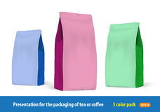 Set of paper packets of 3 colors for the presentation Stock Photos