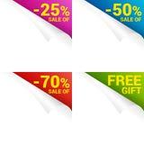 Set paper page curl corner price sale Stock Photo