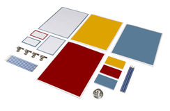 Set of paper and pencil. Stationery set pencil and paper clips. paper records and forms stock images