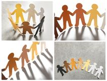 Set with paper people holding hands. On grey background. Unity concept royalty free stock photo