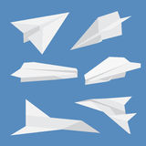 Set of paper planes airplane isolated. Vector illustration. Royalty Free Stock Photos