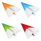 Set of paper planes on white background Stock Photos